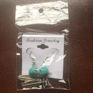 BNWT Teal-And-Silver Skull and Feather Earrings